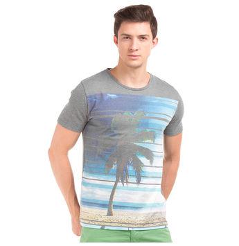 LAVAN Castle Rock Grey Regular Fit Printed T-Shirt,  grey, xxl