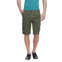 Farren Olive Solid Slim Fit Shorts, 32,  olive