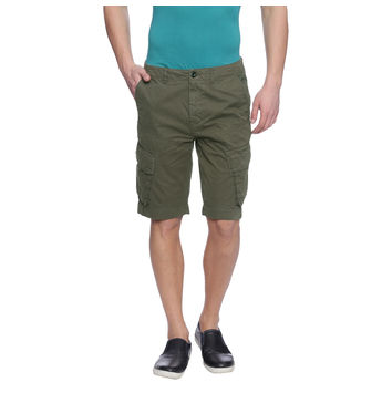 Farren Olive Solid Slim Fit Shorts, 28,  olive