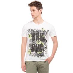 ROUCH Blanc White Regular Fit Printed T-Shirt,  grey, m