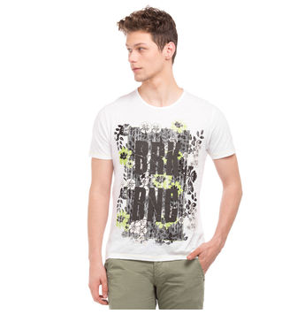 ROUCH Blanc White Regular Fit Printed T-Shirt,  grey, s