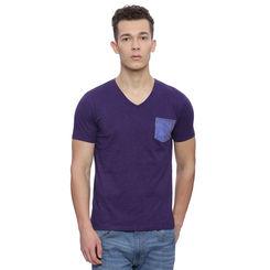 Patcham Dark Purple Solid Slim Fit T Shirt, l,  dark purple