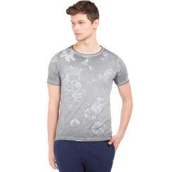 SILVERSTER Dark Grey Regular Fit All Over Print T-Shirt,  grey, s