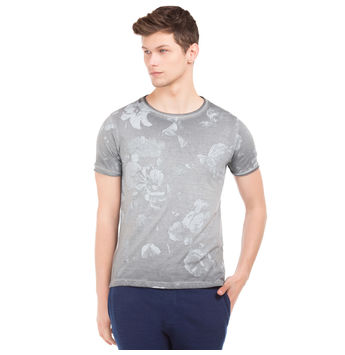 SILVERSTER Dark Grey Regular Fit All Over Print T-Shirt,  grey, s