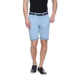 Furley Light Blue Solid Slim Fit Shorts, 32,  light blue