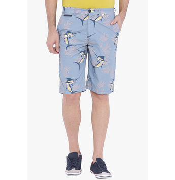 Breakbounce Fergus Printed Slim Fit Shorts,  marina blue, 34