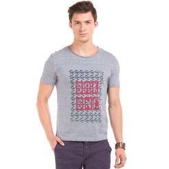 EVELYN Dk Denim Melange Regular Fit Printed T-Shirt,  navy blue, m