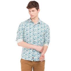 BRYAN BLUE Slim Fit Printed Shirt,  blue, l