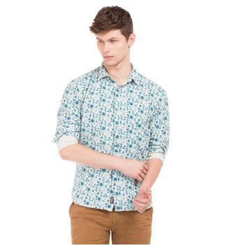 BRYAN BLUE Slim Fit Printed Shirt,  blue, s