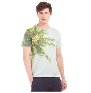 EDMOND Light Green Regular Fit All Over Print T-Shirt,  green, s