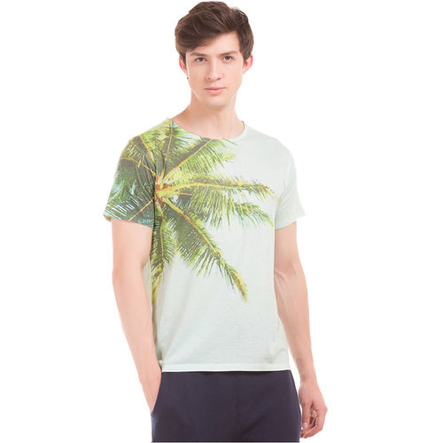 EDMOND Light Green Regular Fit All Over Print T-Shirt,  green, l