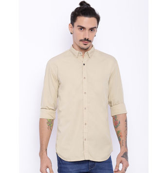 Breakbounce Chester Men's Casual Slim Fit Shirt,  cream, xl