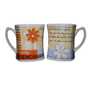 Friendship Message Milk and Coffee Mugs - Flowers, regular