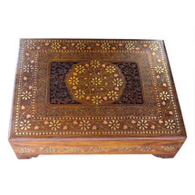Beautiful Hand Carved Wooden Jewellery Box, regular
