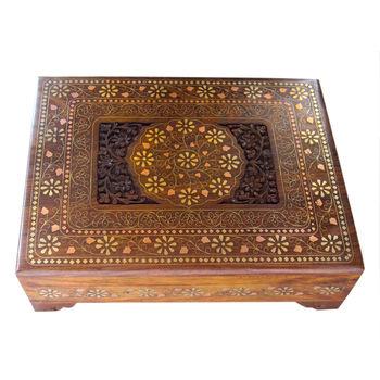 Beautiful Hand Carved Wooden Jewellery Box, regular