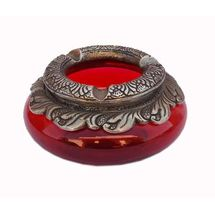 Glass and White Metal Decorative Potpuri Ashtray, regular