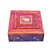 Beautifully crafted Wooden Jewellery Box with hand carving and Brass Elephant design inlay work, regular