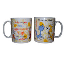 Friendship Message Milk and Coffee Mugs - Dog and Cat, regular