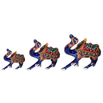 Rajasthani Meenawork Painted Camel Statues with Kathi Set of 3, regular