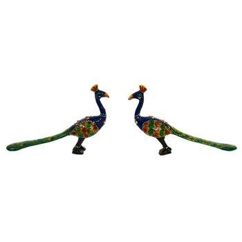 Rajasthani Meenawork Painting Peacock Pair, small