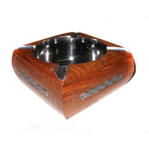 Silver color Strip design Inlay Work Wooden Ashtray, regular