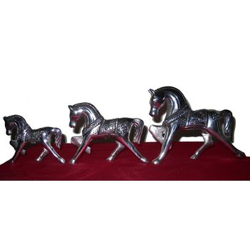 White Metal Horse group - three Horse Statue, regular