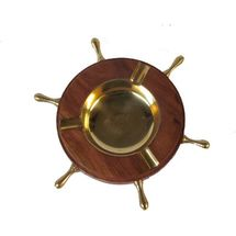 Wooden decorative wheel design Ashtray with brass inlay work