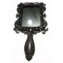 White Metal and Glass Hand mirror - Square Shape, regular