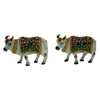 Rajasthani Meenawork Painting Cow Pair, regular