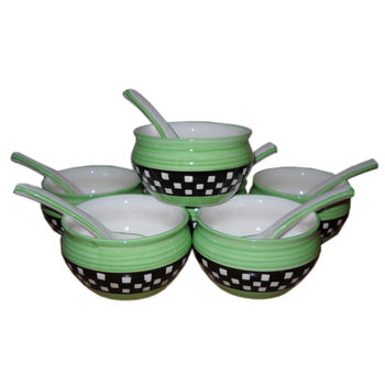Beautiful Multicolour check design Soup Bowl with spoon - Set of 6 bowls, regular