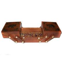 Brass Elephant Design Sliding 3 in 1 Wooden Jewellery Box, regular