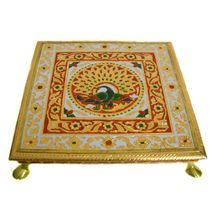 Beautiful Large Rajasthaani Meenakaari work designed Metal and wooden Chowki, regular