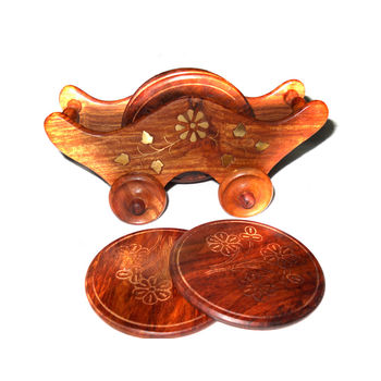 Hand Carved with Brass Inlay Trolley Design Wooden Coasters Set, regular