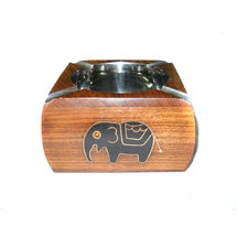 Black Elephant design Inlay Work Wooden Ashtray, regular