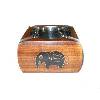 Black Elephant design Inlay Work Wooden Ashtray, regular