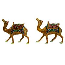 Rajasthani Meenawork Painting Camel Pair with Kathi, medium