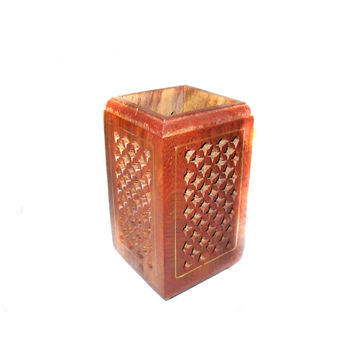 Zaali Design Hand Carved Wooden Pen Stand, regular