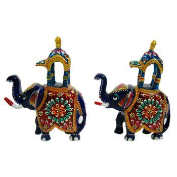 Rajasthani Ambabri Meenawork Painting Elephant Pair, small