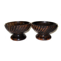 Hand Carved side stripe design Wooden Snacks Server Bowls, regular