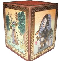 Handcrafted Gemstone and Wooden Square Pen Stand with Beautiful Paintings, regular