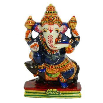 Rajasthani Meenawork Painted Enamelled Metal Pavati Ganesha Idol, regular