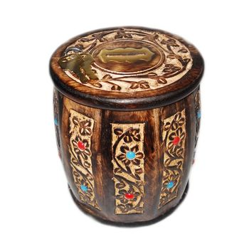 Beautifully handcrafted Round Shape Wooden Coin Box in Antique design, regular