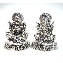 White Metal Laxmi Ganesh Pair, regular