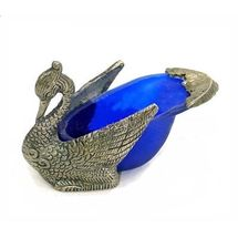 Glass and White Metal Decorative Duck Shape Ashtray, regular