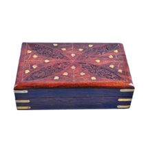 Beautifully crafted Wooden Jewellery Box with leaf design hand carving and Brass inlay work, regular