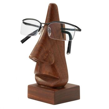 Hand Carved Wooden Specs Stand with Square Base