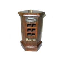 Brass Inlay Work with Jaali design Wooden Coin Box, regular