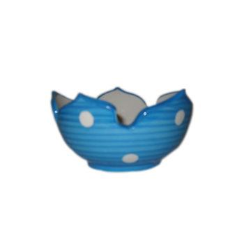Blue Colour Lotus cut Shape Snacks Bowl - Set of 4, regular