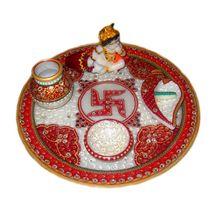 Mavellous Marble Bal Gopal Pooja Thali with Diya, Chopra and Mataki, regular