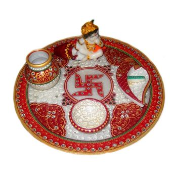 Mavellous Marble Bal Gopal Pooja Thali with Diya, Chopra and Mataki, regular